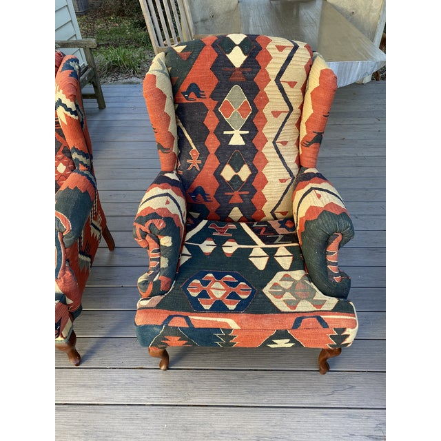 Islamic Kilim Wingback Chairs - a Pair For Sale - Image 3 of 13