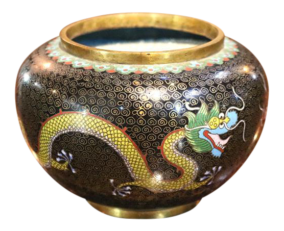 h391 Vintage Nice Carved Chinese Style Dragon Resin Bowl