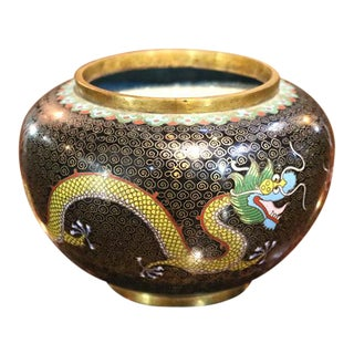 1930s Chinese Cloisonne Dragon Bowl For Sale