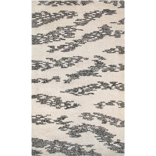Moroccan Shag Style Wool Area Rug - 5′ × 8′ For Sale