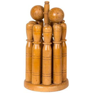 Early 20th Century Wooden Skittle Set With Stand From England