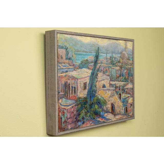 Vintage North African Waterfront Oil Painting For Sale - Image 4 of 5
