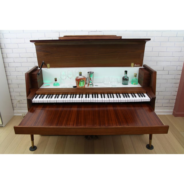 Brown Mid-Century Modern Hidden Piano Bar With Liquor Wine Storage - Baldwin Acrosonic For Sale - Image 8 of 12