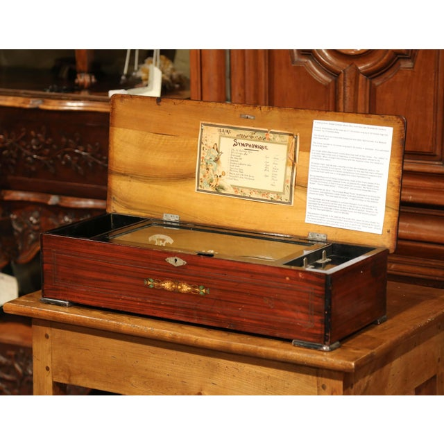 Large 19th Century Swiss Inlaid Walnut Cylinder Zither Music Box With 12 Songs For Sale In Dallas - Image 6 of 11