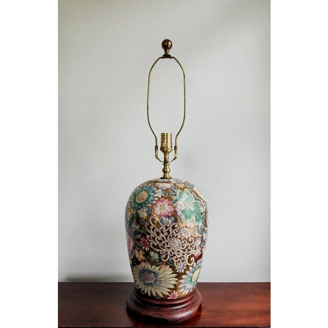 Mid 20th Century Vintage Chinoiserie Gold Enameled Ginger Jar Table Lamp For Sale - Image 5 of 8