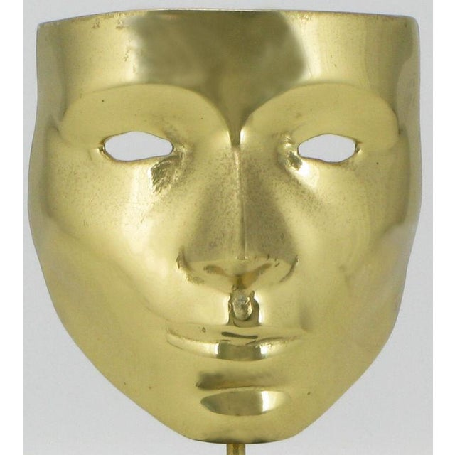 Brass Pair Brass Carnivale Masks Mounted On Black Marble For Sale - Image 7 of 8