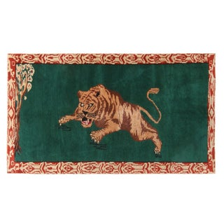 "Vintage Mid Century Tiger Wool Rug-3'5'x6"" For Sale"