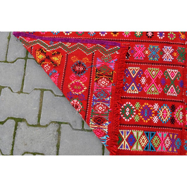 Red Modern Colorful Area Rug - 5′6″ × 6′12″ For Sale - Image 8 of 9