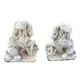 Staffordshire Style Spaniel Dog Garden Statues - a Pair For Sale