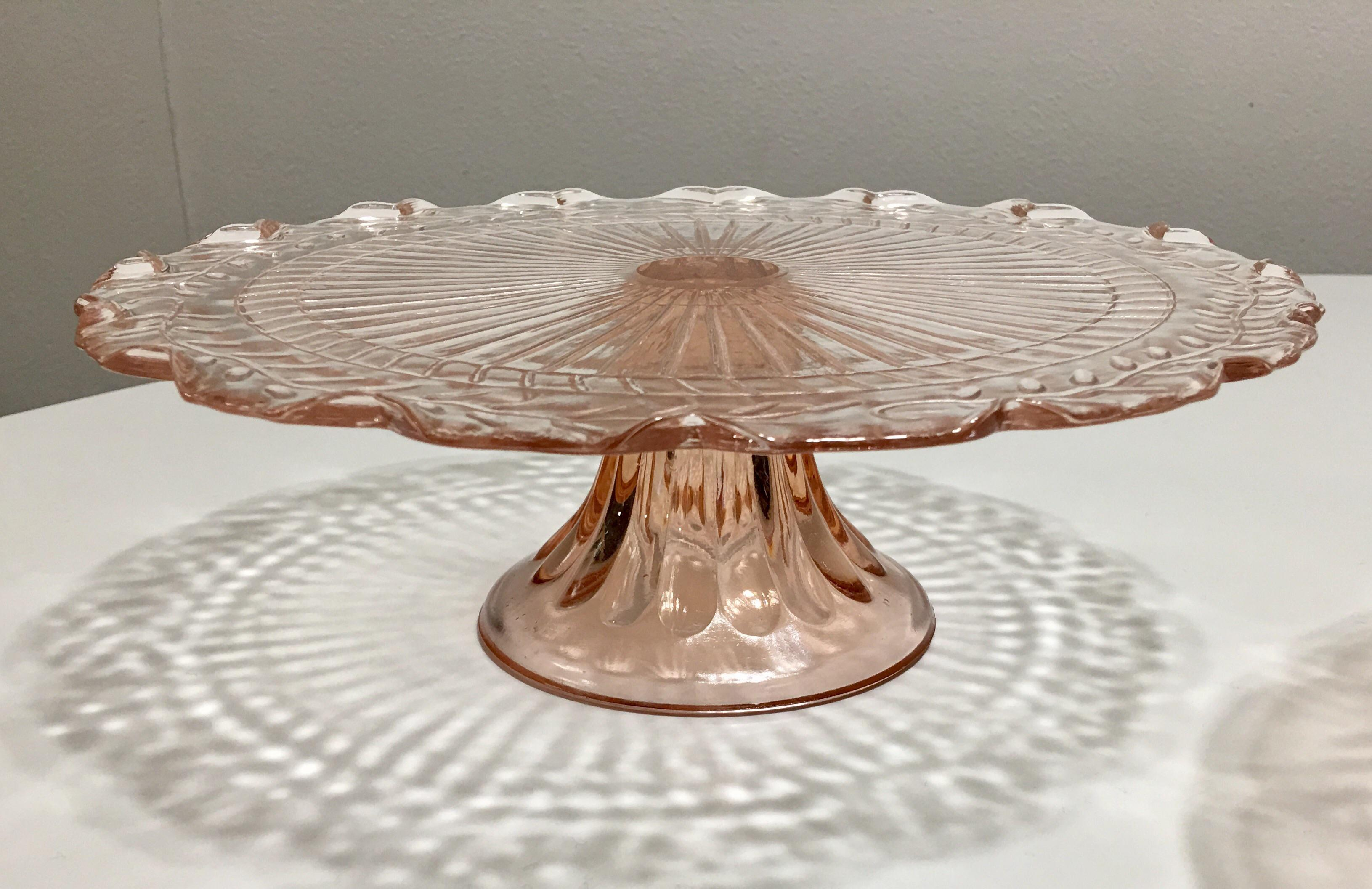 Pink Depression Glass Pedestal Cake Plates - Set of 3 - Image 6 of 8  sc 1 st  Chairish & Pink Depression Glass Pedestal Cake Plates - Set of 3 | Chairish