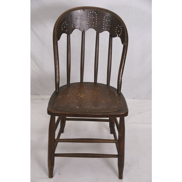 Windsor Chair Tooled Leather Seat Pierced Bib - Image 2 of 6