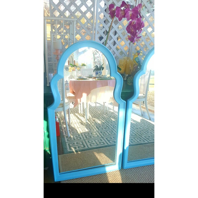 Set of 2- Vintage Moroccan Style Turqouise Blue Mirrors For Sale - Image 4 of 10