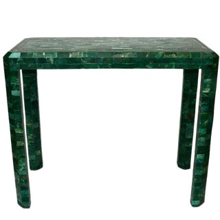 Maitland-Smith Mid-Century Modern Malachite Stone Console For Sale