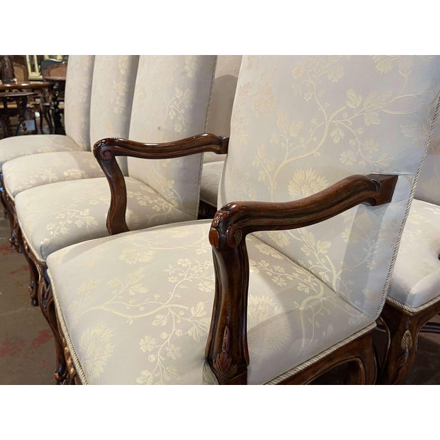 Set of Eight Louis XV Style Carved Walnut Dining Chairs From Minton-Spidell For Sale In Dallas - Image 6 of 13
