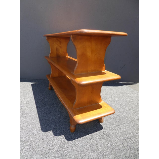 Maple Vintage Mid-Century Modern 3 Tier Maple Bookcase For Sale - Image 7 of 11