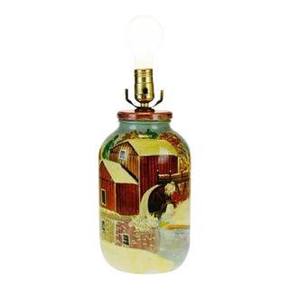 Vintage Folk Art Handpainted Glass Jar Lamp - Artist Signed For Sale