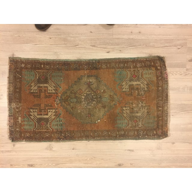 Antique Turkish Handwoven Rug - 1′6″ × 3′ - Image 6 of 6