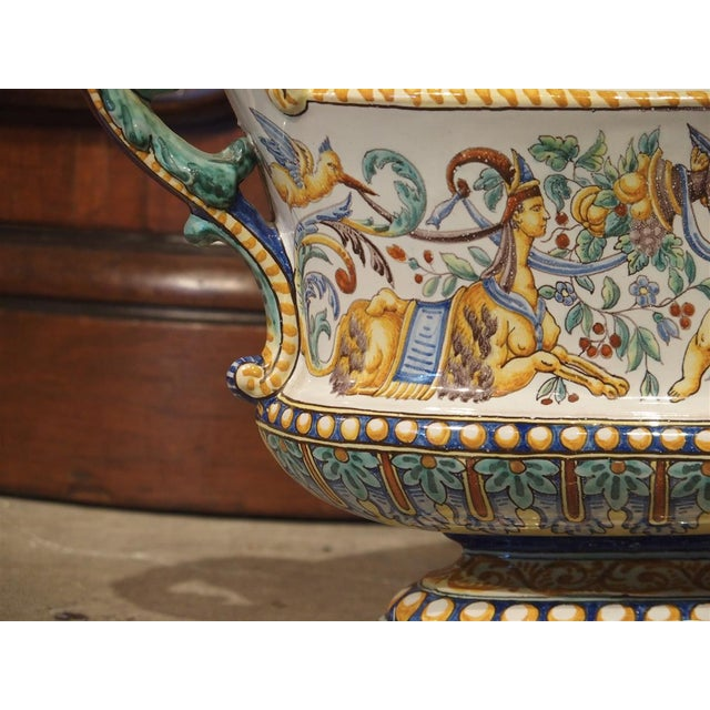 Ceramic 19th Century French Faience Jardiniere, Antoine Montagnon, Nevers For Sale - Image 7 of 13