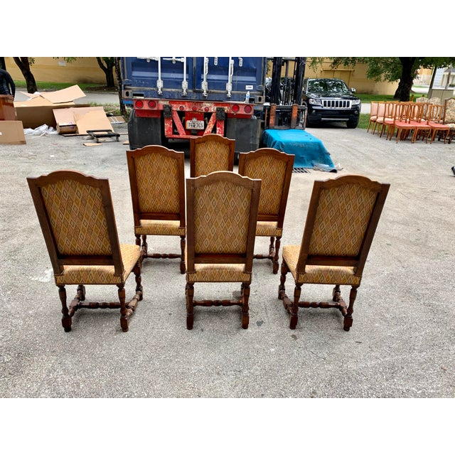 Brown 1900s French Louis XIII Style Solid Walnut Dining Chairs - Set of 6 For Sale - Image 8 of 13