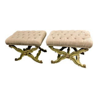 Mid-Century Vintage Glam Karges Hollywood Regency Stools- a Pair For Sale