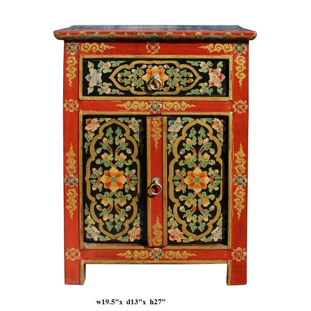 Tibetan Orange Red Black Floral End Table Nightstand For Sale In San Francisco - Image 6 of 6