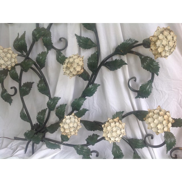 Green Mid-Century Metal Hydrangea Sconce For Sale - Image 8 of 11