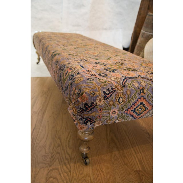 Vintage Persian Rug Ottoman For Sale - Image 5 of 5