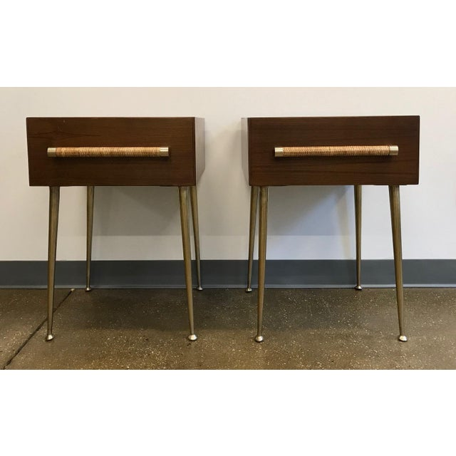 Hollywood Regency T.H. Robsjohn-Gibbings Walnut and Brass Nightstands - a Pair For Sale - Image 3 of 12