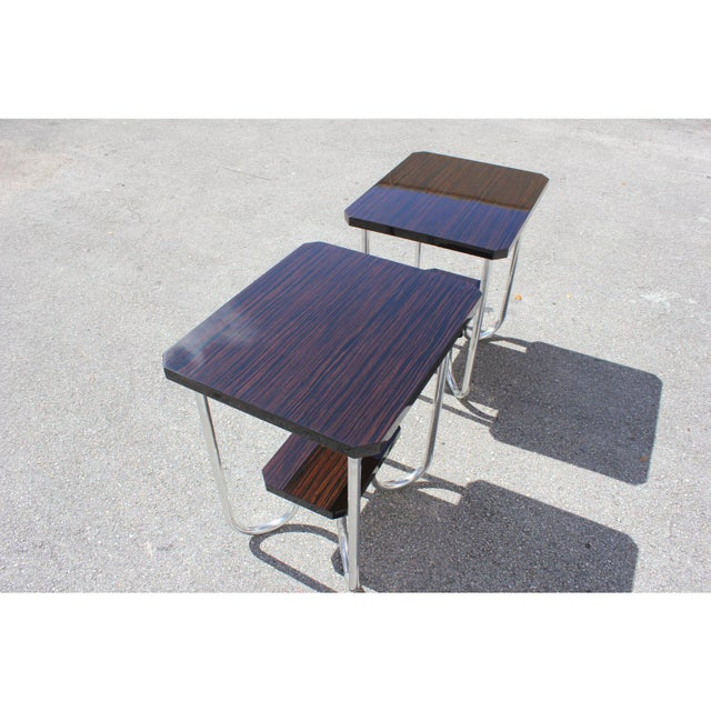 Silver 1940s Modern Exotic Macassar Ebony Side Tables - a Pair For Sale - Image 8 of 11