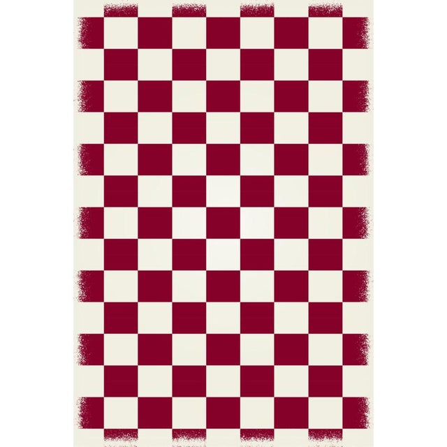 Modern Red & White English Checkered Rug - 4' X 6' For Sale - Image 3 of 3