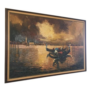 Venetian Gondola Scene Oil on Canvas For Sale