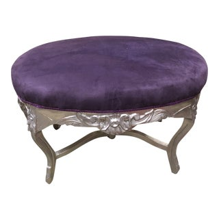 1970s Vintage Purple and Silver Ottoman With X Base Detail For Sale
