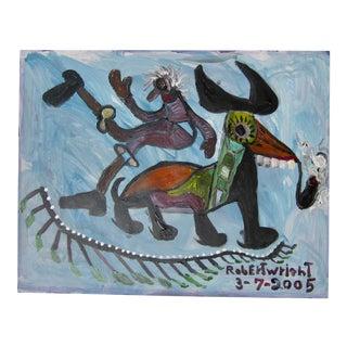 American Outsider Folk Art Surrealist Animal Man Signed Original Robert Wright For Sale