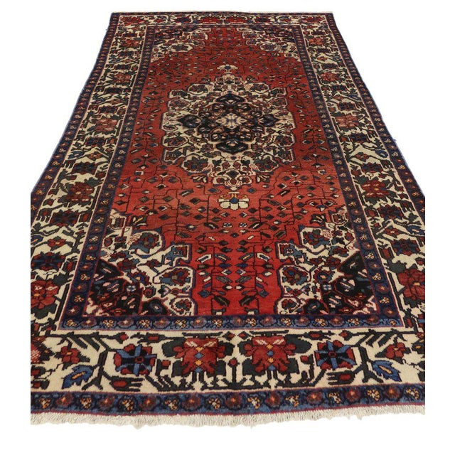 Vintage Mid-Century Jacobean Style Persian Mahal Gallery Rug - 5′1″ × 9′11″ For Sale - Image 4 of 5
