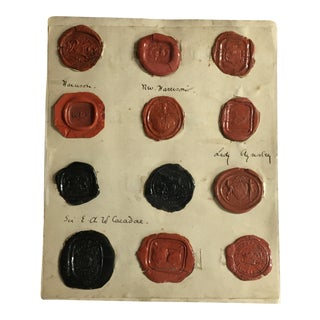 Mid 20th Century English Red & Black Intaglios Wax Seals Unframed For Sale