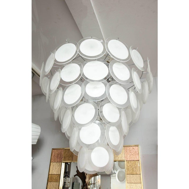 Glass Murano White Glass Disc Chandelier For Sale - Image 7 of 7