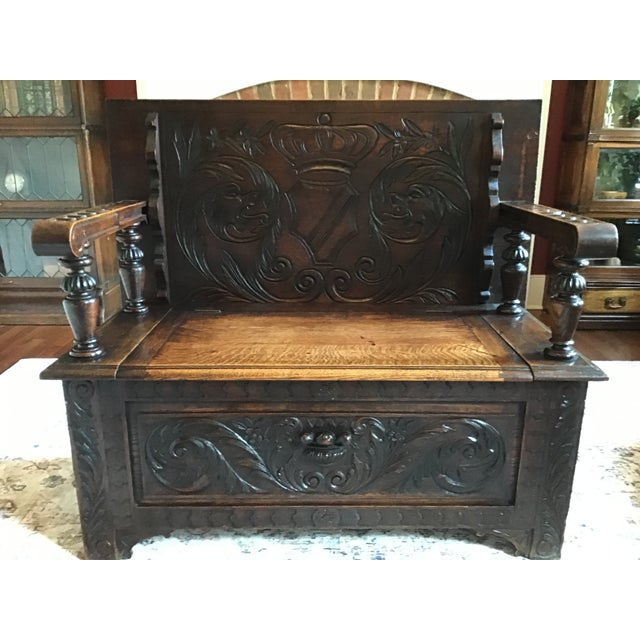 Brown Late 19th Century Antique Brown Monks Bench For Sale - Image 8 of 13