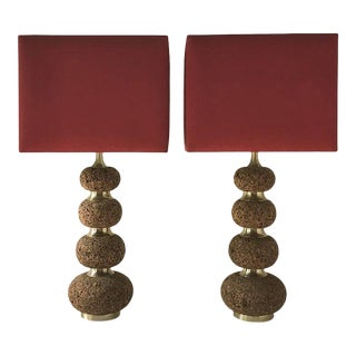 Tall Pair of Cork Lamps For Sale
