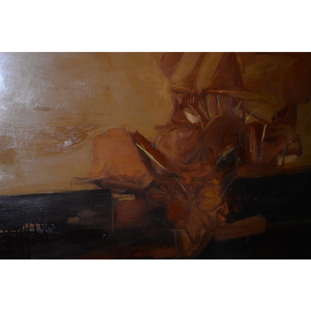 Vintage Mid Modern Abstract Oil Painting C.1970 For Sale In San Francisco - Image 6 of 8