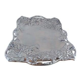 1980s Grape Clutch Aluminum Serving Platter For Sale