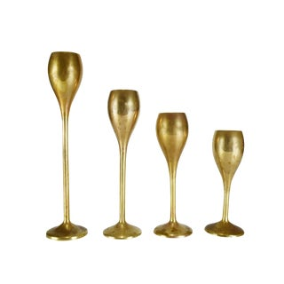 Vintage Modern Solid Brass Candle Holders - Set of 4 For Sale