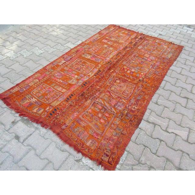 1960s Traditional Orange Wool Iraq Kilim Rug For Sale - Image 4 of 6