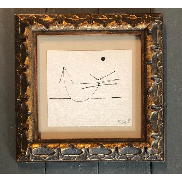 Vintage Miniature Robert Cooke Abstract Ink Drawing 1974 For Sale - Image 4 of 4