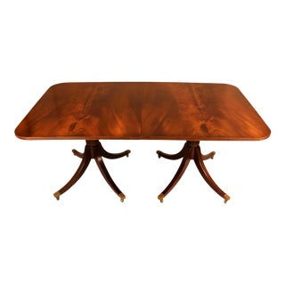 George III Flame Mahogany Double Pedestal Extendable Dining Table For Sale