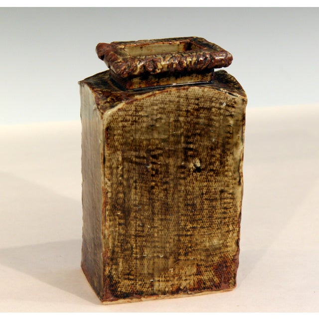 Expressionism Vintage Studio Pottery Slab Wabi Sabi Rectangular Square Vase Signed Ikebana For Sale - Image 3 of 9