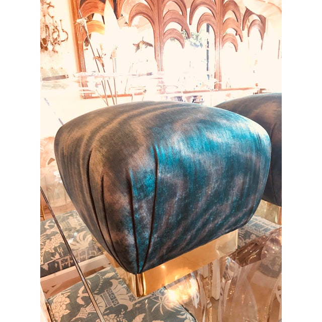 Gold Vintage Hollywood Regency Aqua Velvet & Brass Poufs Ottomans Benches -A Pair For Sale - Image 8 of 13