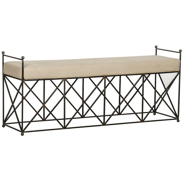 """A bold repeating """"X"""" motive adds visual interest to this classic indoor bench. The metal base is purposely untreated, (and..."""