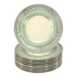 Set of 12 Sterling Welch & Co Green Cream Dinner Plates with AC Silver Overlay For Sale