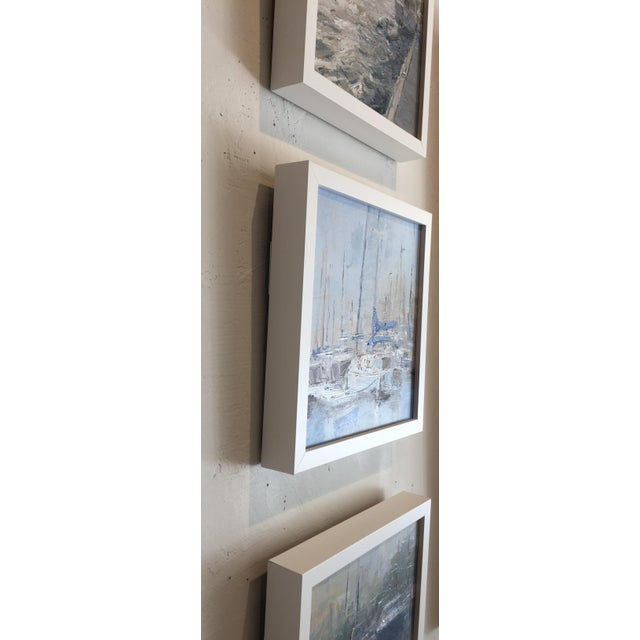 """2010s Beckham Framed Oil Painting """"Morning View"""", Contemporary Blue Seascape For Sale - Image 5 of 7"""