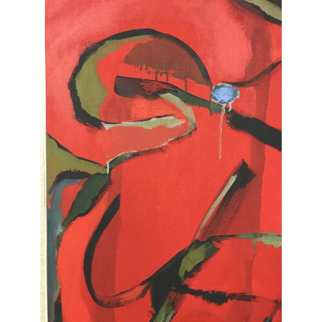 Mid 20th Century Abstract Oil on Canvas Painting For Sale - Image 5 of 7